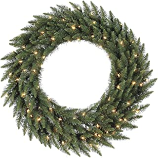 Vickerman Pre-lit Camdon Fir Artificial Wreath with 200 Warm White LED Lights, 48 Inch