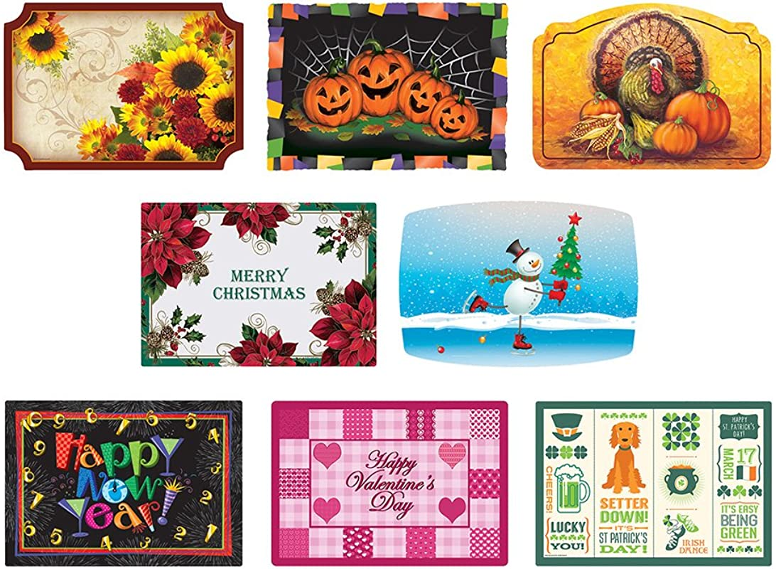 Hoffmaster 857208 Fall Winter Seasonal Celebration Placemats 8 Different Designs In Each Case 9 75 X 14 Paper Pack Of 1000