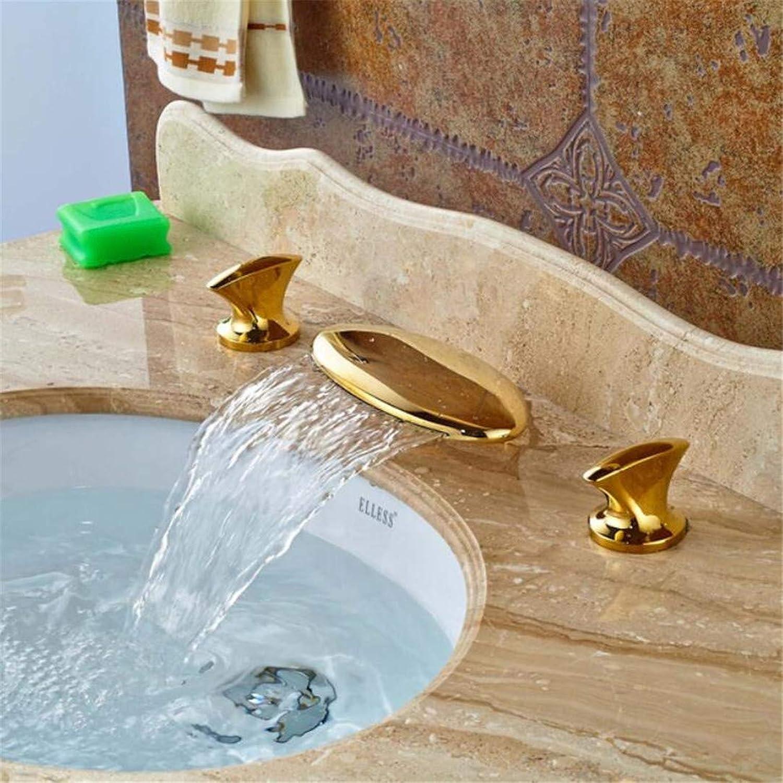Wasserhahn Waschtischmischer weit Verbreitet 8 Waschbecken Goldene Messing Bad Becken Wasserhahn Wasserfall Auslauf Dual Griffe Vanity Sink Mischbatterie