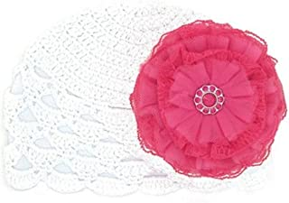 White Scalloped Crochet Hat with Raspberry Lace Rose, Size: 12-18m