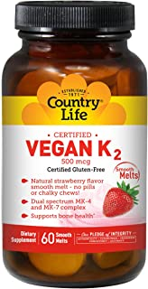 Country Life Vegan Vitamin K2, 500 mcg, Dual Spectrum MK-4 and MK-7 Complex, Supports Bone & Teeth Health, 60 Chewable Tablets, Strawberry Flavor