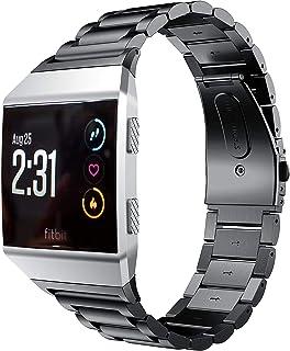 VICARA for Fitbit ionicスマートウオッチ腕時計バンド フィットビッド高級金属製時計交換ベルト高品質ステンレス ビジネス用腕時計ストラップ (ブラック)
