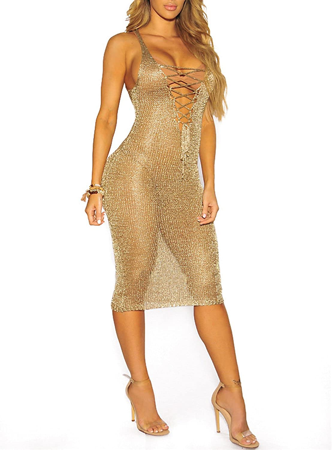 Glamaker Women's Sexy Party See Through Mesh Dress Midi Sleeveless