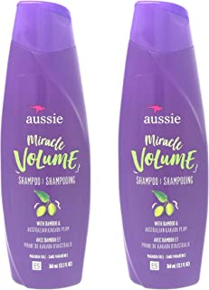 Aussie For Fine Hair, Paraben-free Miracle Volume Shampoo, W/Plum and Bamboo, 12.1 oz (Pack of 2)