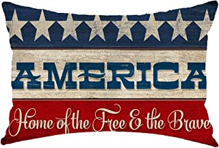 Happy Independence Day American Flag Home of Free Because of The Brave Cotton Linen Square Throw Waist Pillow Case Decorative Cushion Cover Pillowcase Sofa Lumbar 12