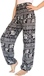 118721c913fb Women s Smocked Waist Harem Hippie Boho Yoga Palazzo Casual Pants (M