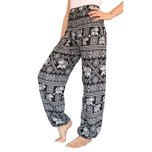 d4f6ce8fd54 BANJAMATH® Women s Smocked Waist Harem Hippie Trousers Boho Yoga Bohemian  Pants