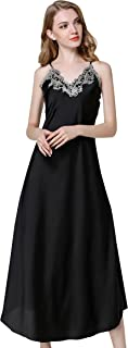 Avitalk Women's Lace Satin Nightdress Full Slip Nightie Gown Sexy Long Chemise Sleepwear