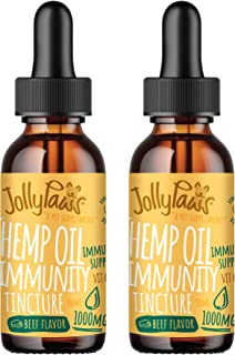 Jollypaws Natural Hemp Oil for Dogs with Vitamin C (2-Pack) Immune Support, 1000 mg Immunity Tincture, Year-Round Defense ...