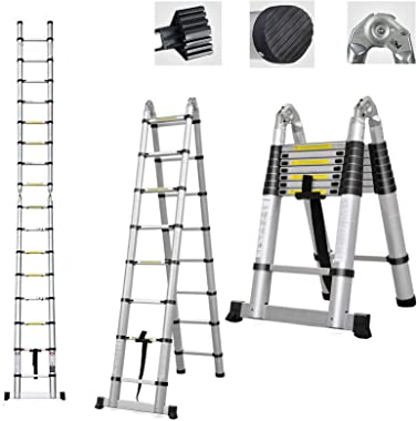 Telescoping Ladder A Frame 8ft / Straight Ladders 16.5ft Folding Extension Step Ladders Aluminum Compact Retractable for Busi
