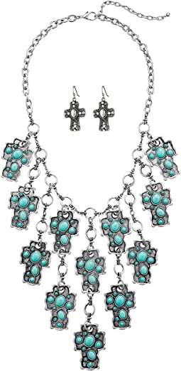 M&F Western - Stone Cross Bib Necklace/Earrings Set