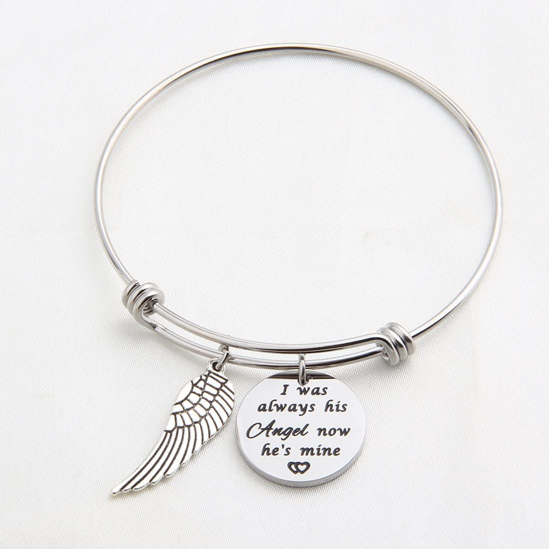 KUIYAI I Used to Be His Angel Now He is Mine Daddy Mommy Hand Stamped Memorial Necklace with Birthstone