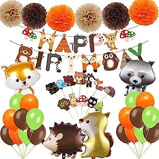 Jimiston Juego de decoración de Fiesta de Animales del Bosque de 41 Piezas: Pancarta de Feliz cumpleaños, Globos de Criatu...