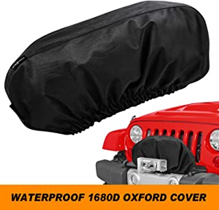 """Seven Sparta Winch Cover for Electric Winch Up to 17500 Lbs, Waterproof Winch Protector, 1680D Oxford Winch Cover, 24"""" W x 10"""" H x 7"""" D (Black)"""