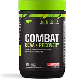 MusclePharm Combat BCAA + Recovery Powder, 10g of Branched-Chain Amino Acids and Essential Amino Acids, Fruit Punch, 30 Se...
