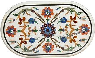Gifts And Artefacts - Mesa de centro ovalada de mármol con incrustaciones de piedras preciosas para dar un aspecto real a ...