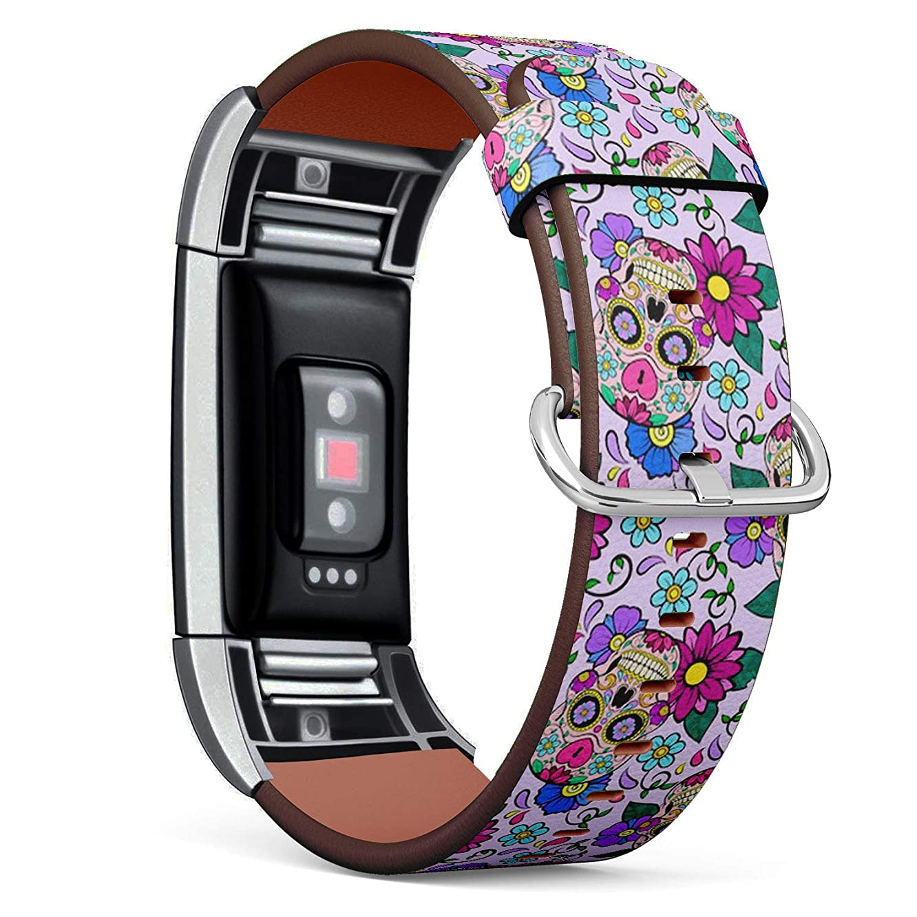 Compatible with Fitbit Charge 2 - Leather Watch Wrist Band Strap Bracelet with Stainless Steel Clasp and Adapters (Festive Sugar Skulls Heart)