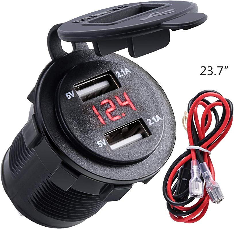 Best Ycldcyp 4 2A Dual USB 2 1A 2 1A Charger Socket Waterproof Power Outlet W LED Voltmeter Wire In Line 10A Fuse For 12 24V Car Boat Marine Motorcycle Color Red
