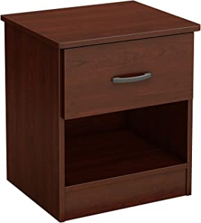 South Shore Libra 1-Drawer Nightstand, Royal Cherry with Metal Handle