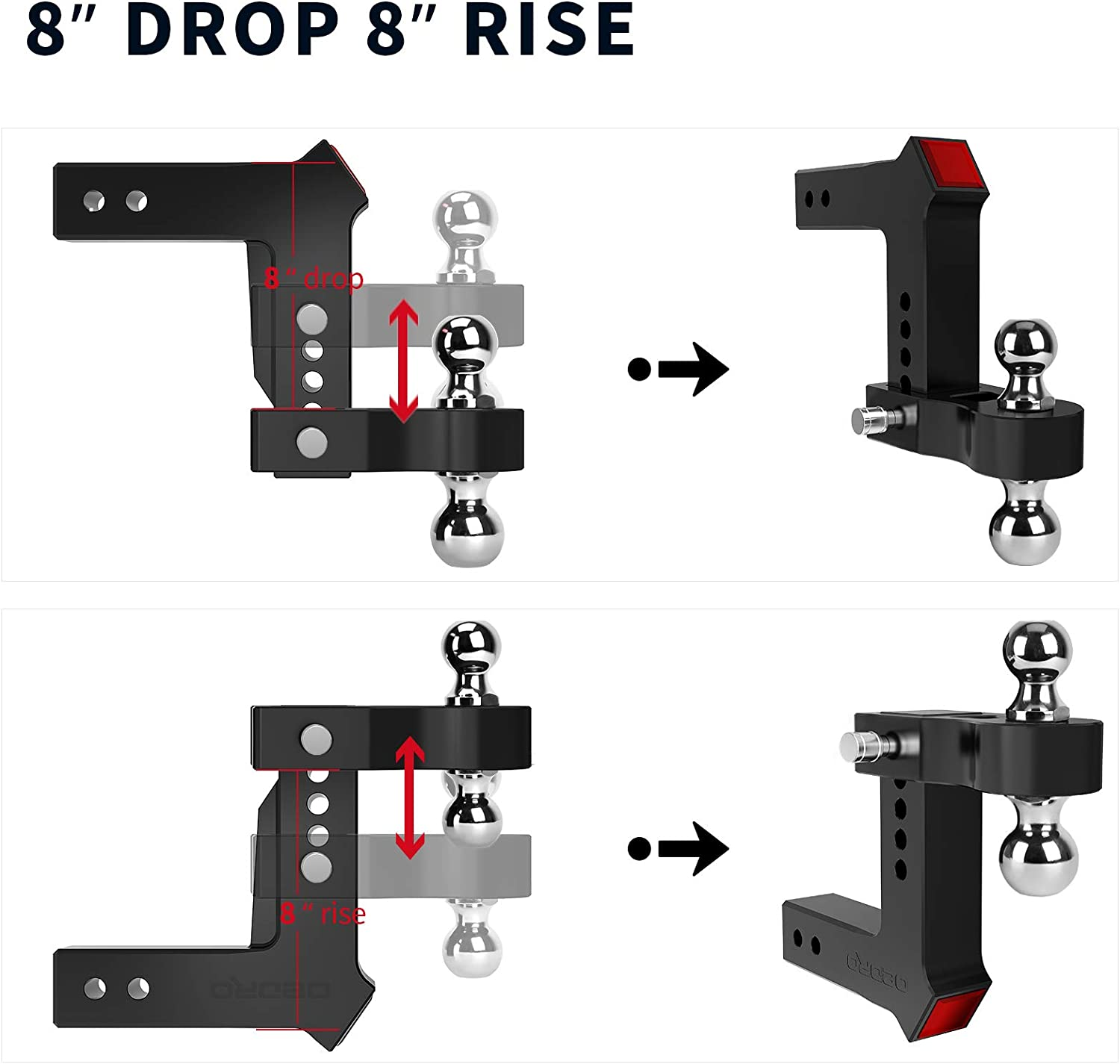 18500 lbs 2.5 Receiver//6 Drop 2 /& 2-5//16 Combo Tow Balls w//Double Pin Key Locks Anodized Black oEdRo Adjustable Trailer Hitch Ball Mount//Forged Aluminum Shank
