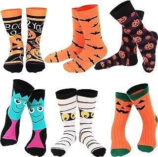 6 Pairs Halloween Socks Novelty Cartoon Socks with Pumpkins Bat Design for Halloween Party Supplies