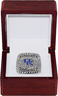University of Kentucky Wildcats 2012 March Madness NCAA NATIONAL CHAMPIONS Rare & Collectible High-Quality Replica NCAA Basketball Silver Championship Ring with Cherrywood Display Box