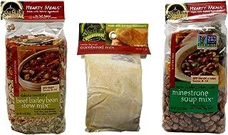 Frontier Soups Natural Gluten Free Soup/Cornbread Mix 3 Flavor Variety Bundle, (1) each: Dakota Beef Barley Bean Stew, NY Minestrone, Santa Fe Trail Cornbread (11-14 Ounces)