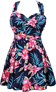 a07d137b68a55 COCOPEAR Women's Elegant Crossover One Piece Swimdress Floral Skirted  Swimsuit(FBA)