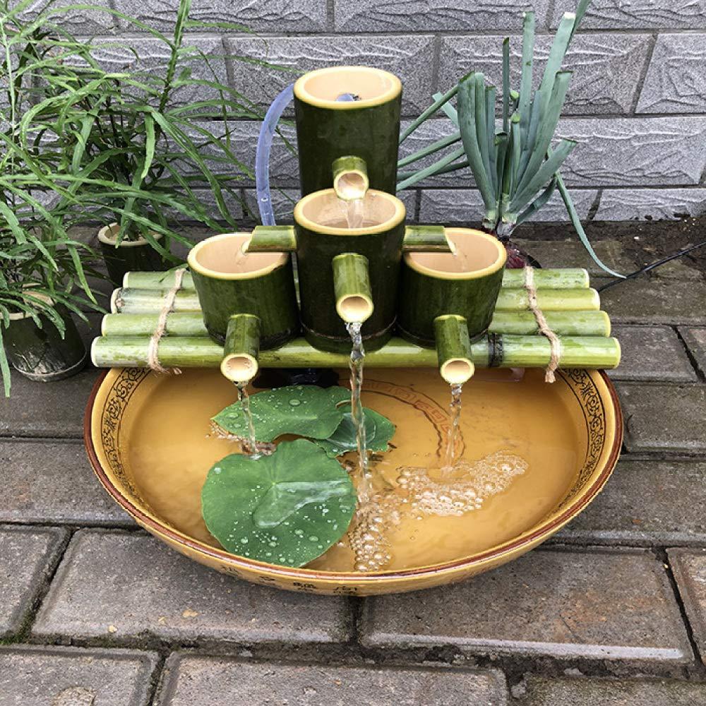 QXTT Fuente De Bambu Exterior Fuente De Agua con Caña De Bambú Cascada Fuentes Estatuas Decorativas Interior Exterior para Jardín Decoración del Hogar Japonés Al Aire Libre Característica,55cm: Amazon.es: Hogar
