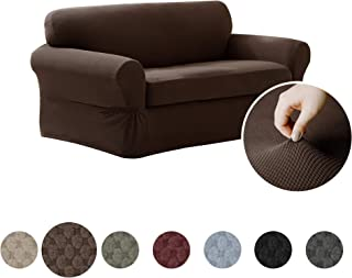 MAYTEX Pixel Ultra Soft Stretch 2 Piece Loveseat Furniture Cover Slipcover, Chocolate Brown