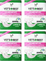 Vet s Best 12 Count Comfort Fit Disposable Female Dog Diapers, Large/x-large 4 Pack (48 Total Diapers)