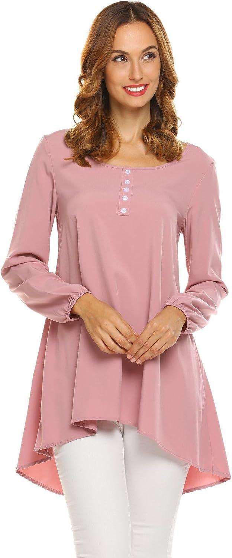 Zeagoo Women's Casual HighLow Hem Plain Long Sleeve ScoopNeck Button Decor Tunic Shirt