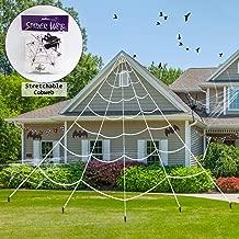 ATDAWN Halloween Giant Spider Web, Super Stretch Cobweb Set, Spider Webbing, Halloween Decorations Outdoor Yard Decor, White, 23 Feet