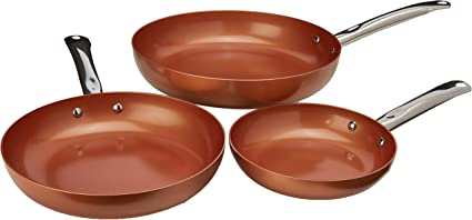 Copper CHef 3-Piece Non-Stick Fry Pan Set, 8 Inch, 10 Inch, and 12 Inch