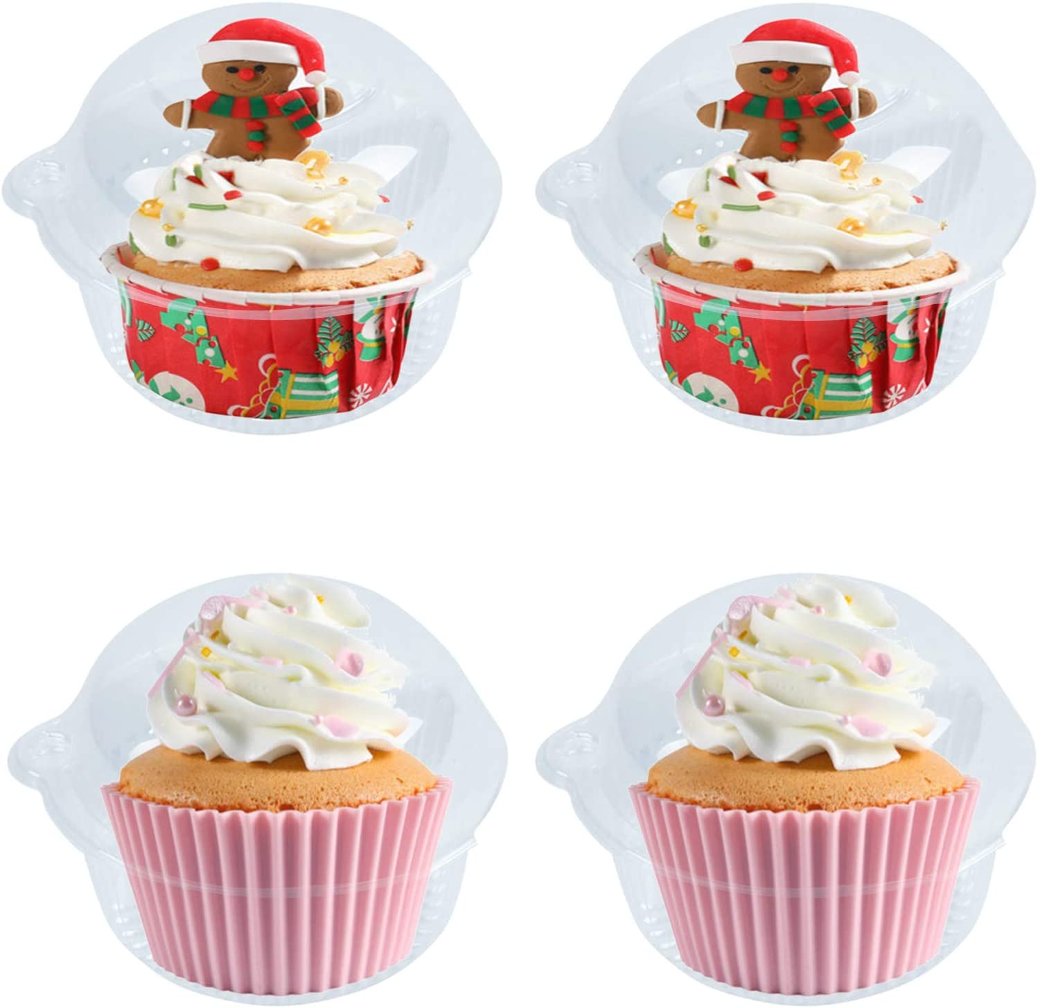 50 Pack Single Individual Cupcake Boxes, Disposable Clear Plastic Dome Cupcake Containers for Sandwich Hamburgers Fruit Salad Party Favor Stackable Cake Holder Muffin Case Cups Pod.
