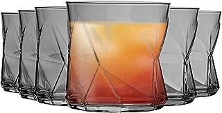 Bormioli Rocco Cassiopea Geometric Whiskyglas Gläser Set - 320ml - Grau - Packung mit 12
