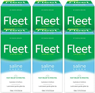 Fleet Laxative Saline Enema for Adult Constipation, 4.5 fl oz, 4 Bottles, 6 Pack