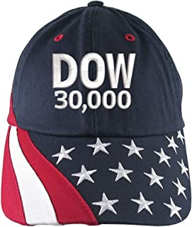 65ae7c12cb8dc NYSE Hat Dow 30000 Stock Broker Custom Embroidery Adjustable Navy Blue  Unstructured Stars and Stripes Baseball