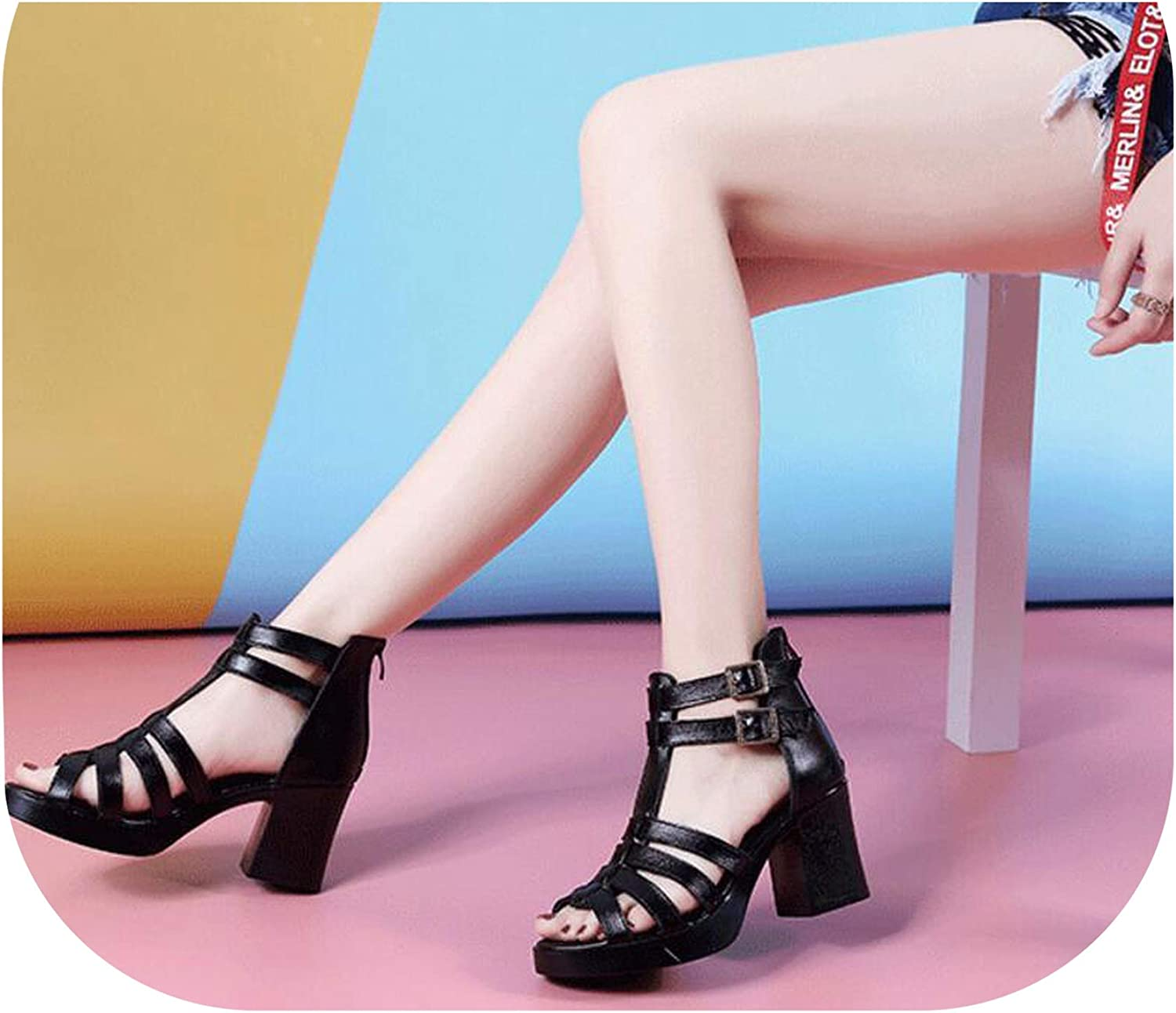 Shine-shine Leather Square Heel Ladies Sandals Roman Wind Casual Fish Mouth