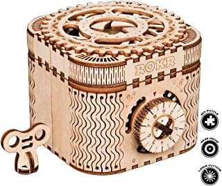 3D Wooden Treasure Box Puzzle Unique Model Kits to Build Mechanical Engineering Kits Great Birthday for Adults and Children Age 14+