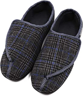 Mens Diabetic Slippers Adjustable House House Warm Plush Fleece Comfortable Non-Skid Relief for Wide Swollen Feet, Elderly, Diabetes, Swelling, Edema, Arthritis, Neuropathy