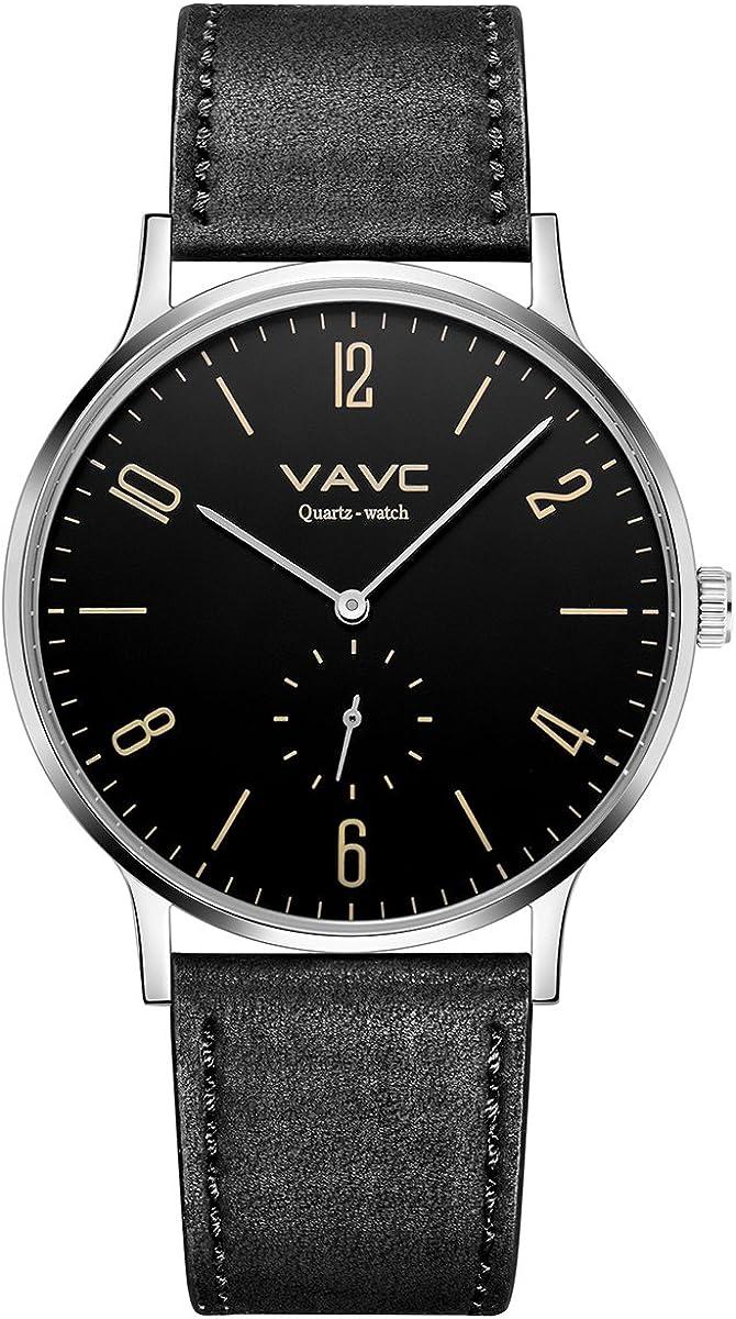 VAVC Men's Black Leather Band Regular discount Casual Brand Cheap Sale Venue Wrist Simple Dress Quartz W