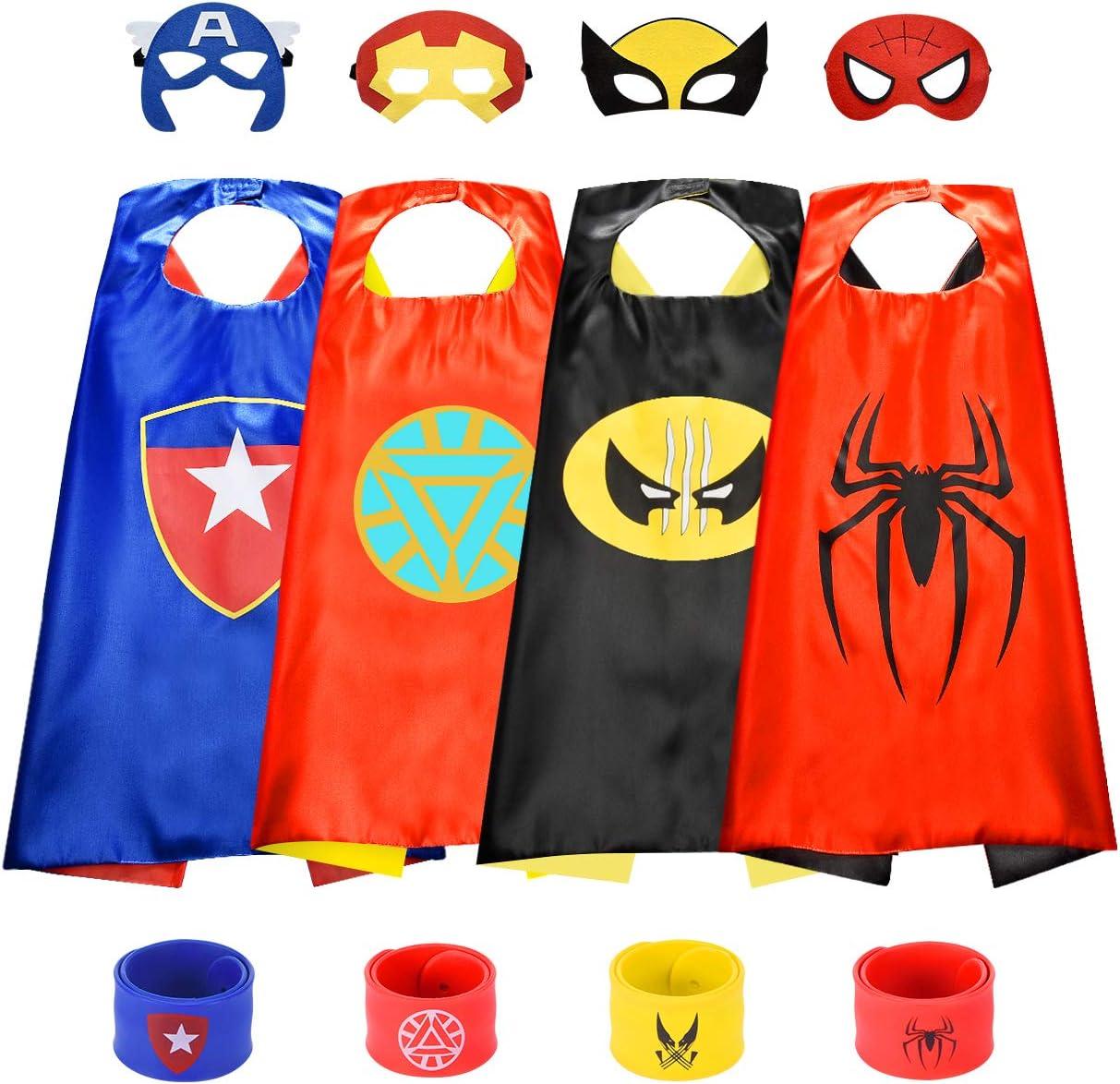 BOXYUEIN Capas de Superhéroe con Máscaras y Pulseras - Regalos para Cumpleaños Carnaval Fiesta