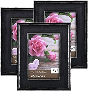 Boichen 5x7 Picture Frames Rustic Solid Wood High Definition Glass for Tabletop Display and Wall Mounting Photo Frame Black 3 Pack
