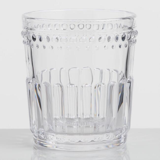 Clear Pressed Glass Double Old Fashioned Glasses Set of 4 | World Market