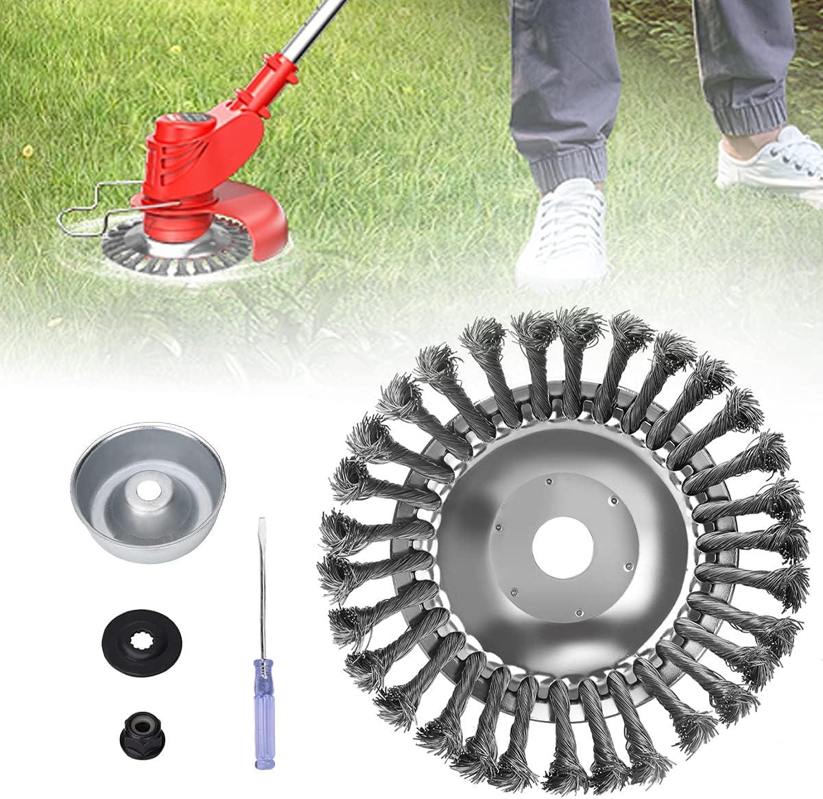 DrRobor Cepillo para Desbrozadora de 200 x 25,4 mm, Cabezal de Cepillo Alambre para Jardín, Camino de Ladrillos, Juntas de Pavimento