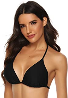 FITTOO Sexy Padded V-Neck Triangle Bikini Top Push up Lace-up Classic Retro Black White Red