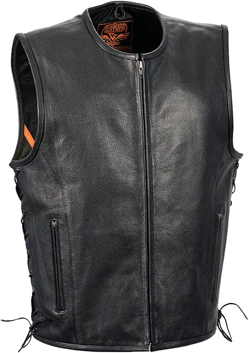 Milwaukee Leather LKM3741 Men's Black 'Seamless Design' Leather Vest with Side Laces