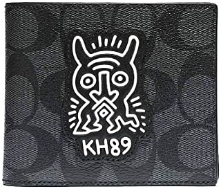 Coach Men's Keith Haring Compact ID 3 IN 1 Wallet PVC F68217 Charcoal Black