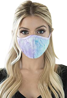 Reusable Fabric Face Mask Covering Unisex - Cute Print Cloth Comfy Washable Breathable Outdoor Mouth Shield Protection Men Women (Pointy/Ear Loop - Tie Dye Aqua Lilac)